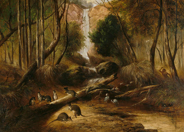 Aborigine Painting - Bush Landscape With Waterfall And An Aborigine Stalking Native Animals, New South Wales by John Skinner Prout