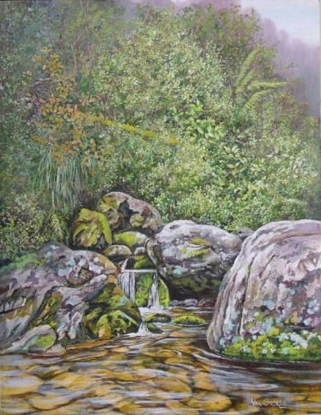 Painting - Bush Stream With Waterfall by Val Stokes