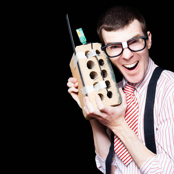 Intellectual Photograph - Business Geek Laughing On House Brick Phone by Jorgo Photography - Wall Art Gallery