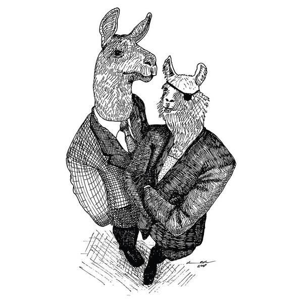 Llama Drawing - Business Llamas by Karl Addison