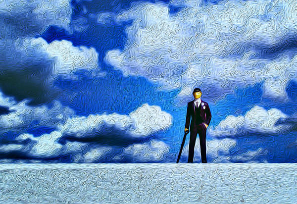 Photograph - Business Man Miniature Toy Model And Cloudy Sky Oil Painting by John Williams