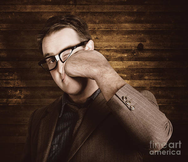 Office Manager Wall Art - Photograph - Business Man Under Stress Punching A System Reboot by Jorgo Photography - Wall Art Gallery