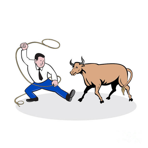 Wall Art - Digital Art - Businessman Holding Lasso Bull Cartoon by Aloysius Patrimonio