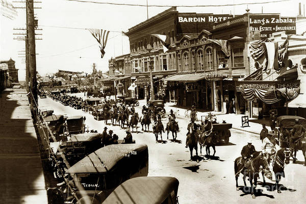 Photograph - Businessmen's Military Encampment Passing Through On Main Street by California Views Archives Mr Pat Hathaway Archives