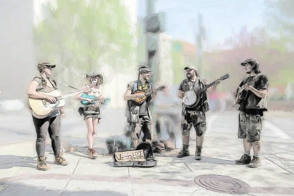 Busker Quintet Art Print by John Haldane