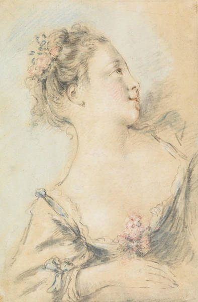 French Painter Wall Art - Drawing - Bust Of A Young Girl  by Francois Boucher