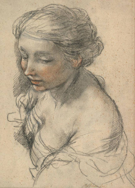 Turn Of The Century Wall Art - Drawing - Bust Of A Young Woman Turned To The Left by Pietro da Cortona