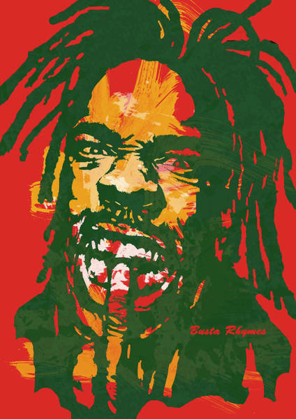 Nfl Drawing - Busta Rhymes Pop Stylised Art Poster by Kim Wang