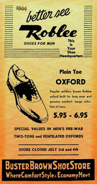 Photograph - Buster Brown Shoes Ad In 1944 by Carlos Diaz