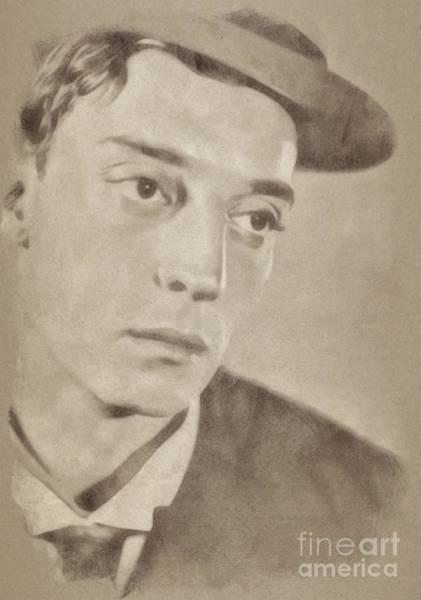 Pinewood Drawing - Buster Keaton, Hollywood Legend By John Springfield by John Springfield