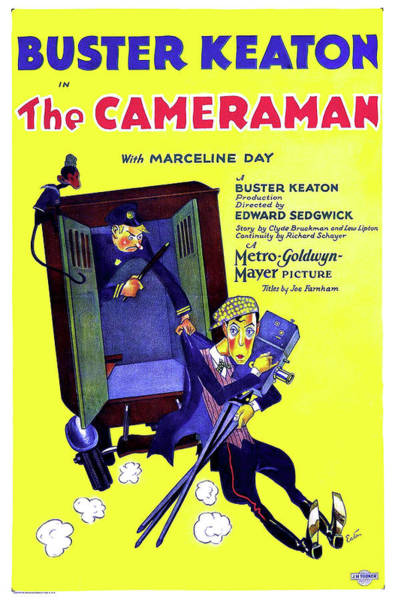 Nostalgia Drawing - Buster Keaton In The Cameraman 1928 by Mountain Dreams
