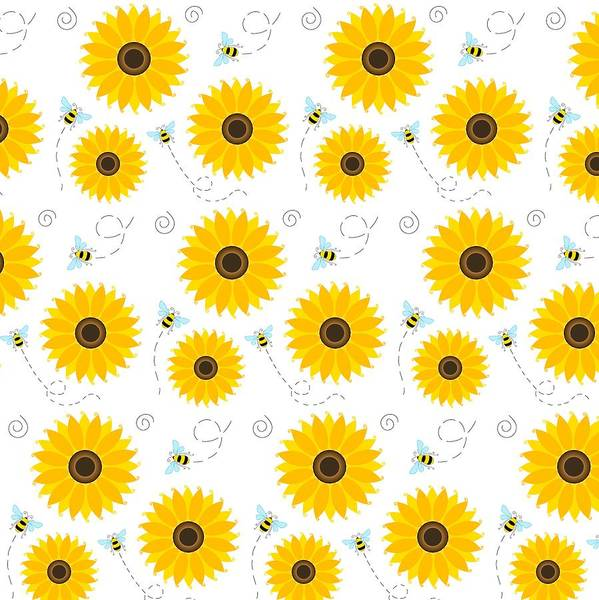Cheery Digital Art - Busy Bees And Sunflowers by SharaLee Art