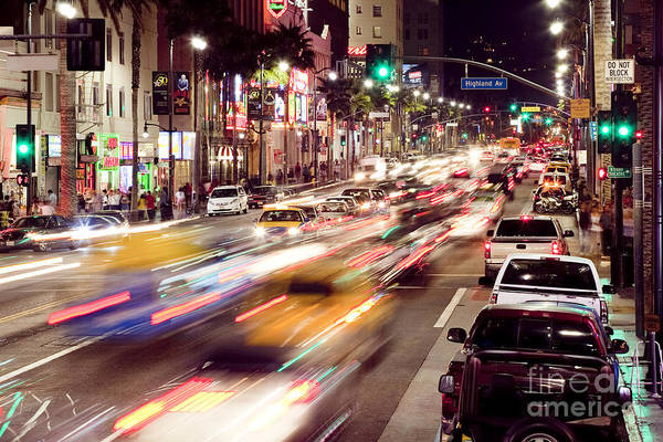 Photograph - Busy Hollywood Boulevard At Night by Bryan Mullennix