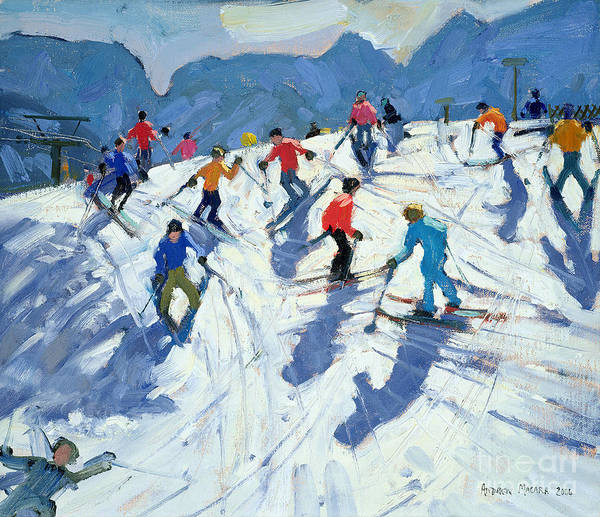 Holiday Wall Art - Painting - Busy Ski Slope by Andrew Macara
