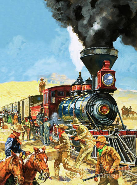 Wall Art - Painting - Butch Cassidy And The Sundance Kid Hold Up A Union Pacific Railroad Train by Harry Green