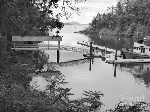 Photograph - Butchart Bay In Black And White by Charles Robinson