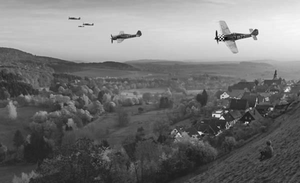 Luftwaffe Wall Art - Digital Art - Butcher Birds In Fall - Bw by Mark Donoghue
