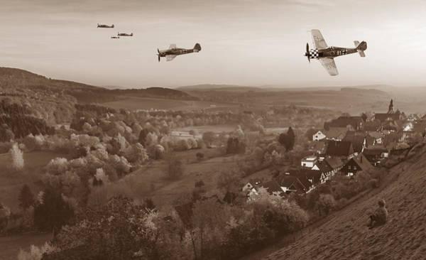 Luftwaffe Wall Art - Digital Art - Butcher Birds In Fall - Sepia by Mark Donoghue