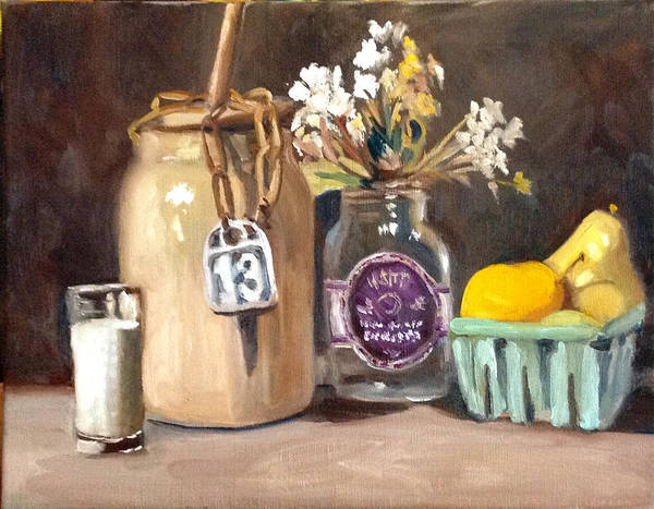 Butter Churn Painting - Butter Churn With Fruit And Flowers by Mary Marin