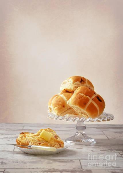 Buns Photograph - Buttered Hot Cross Bun by Amanda Elwell