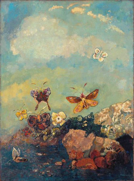 Blue Cornflower Painting - Butterflies 2 by Odilon Redon