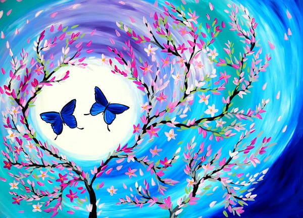 Framing Painting - Butterflies And Cherry Blossoms With Green, Purple And Blue by Cathy Jacobs