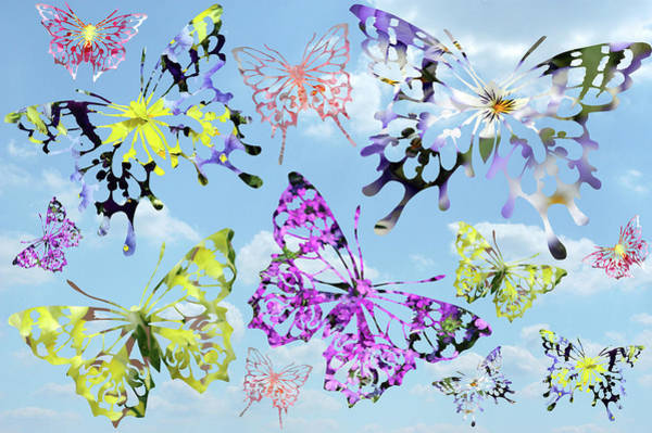 Wall Art - Digital Art - Butterflies And Clouds by Alynne Landers