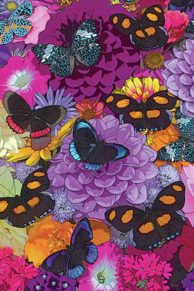Wall Art - Painting - Butterflies And Flowers 2 by JQ Licensing