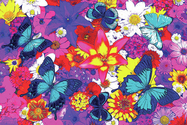 Wall Art - Painting - Butterflies And Flowers by JQ Licensing