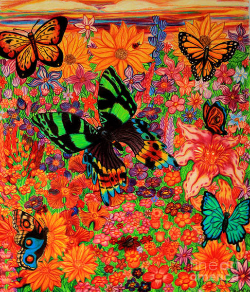 Lady Bug Drawing - Butterflies And Flowers by Nick Gustafson