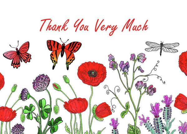 Lucky Clover Painting - Butterflies And Wildflowers Thank You Card Design by Irina Sztukowski