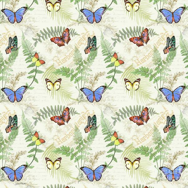 Ferns Digital Art - Butterflies In The Garden-c by Jean Plout