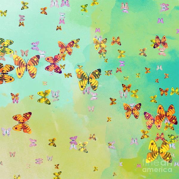 Blue Bug Digital Art - Butterflies On Springtime by Gaspar Avila