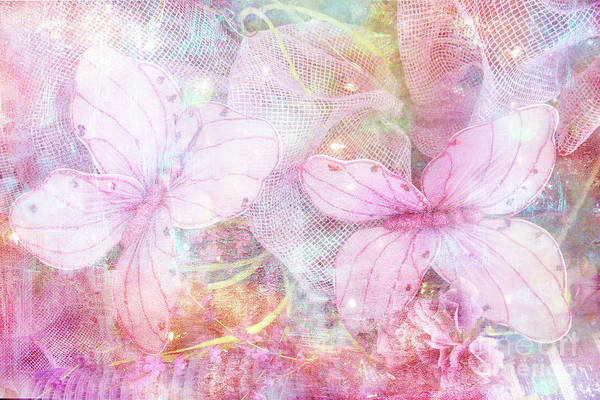 Wall Art - Photograph - Butterflies Pastel Pink Watercolor Decor - Pastel Pink Butterfly Butterflies Home Decor by Kathy Fornal