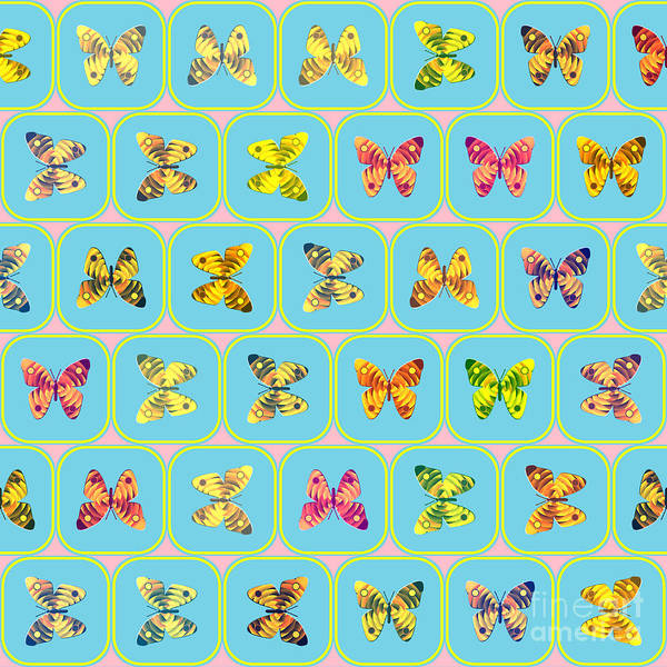 Blue Bug Digital Art - Butterflies Pattern by Gaspar Avila