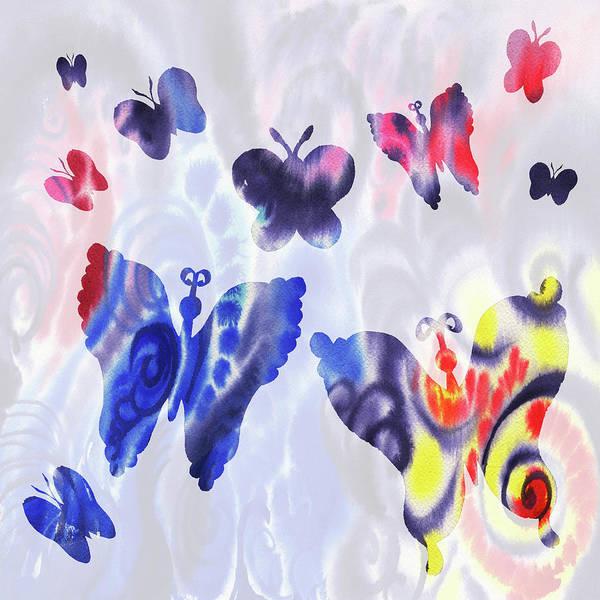 Wall Art - Painting - Butterflies Watercolor Silhouette by Irina Sztukowski