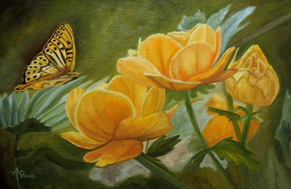 Painting - Butterfly Among Yellow Flowers by Angeles M Pomata