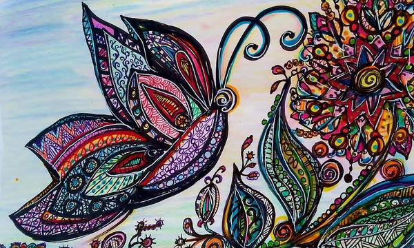 Drawing - Butterfly And  Flower by Jan Pellizzer