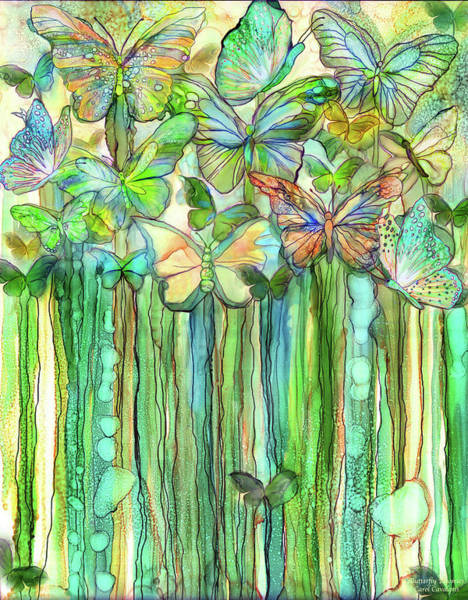 Mixed Media - Butterfly Bloomies 1 - Rainbow by Carol Cavalaris