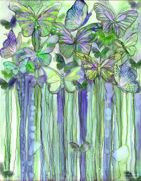 Wall Art - Mixed Media - Butterfly Bloomies 1 - Purple by Carol Cavalaris