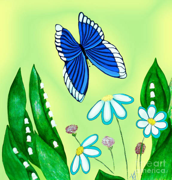 Lilies Of The Valley Mixed Media - Butterfly Blue by Karen Falk