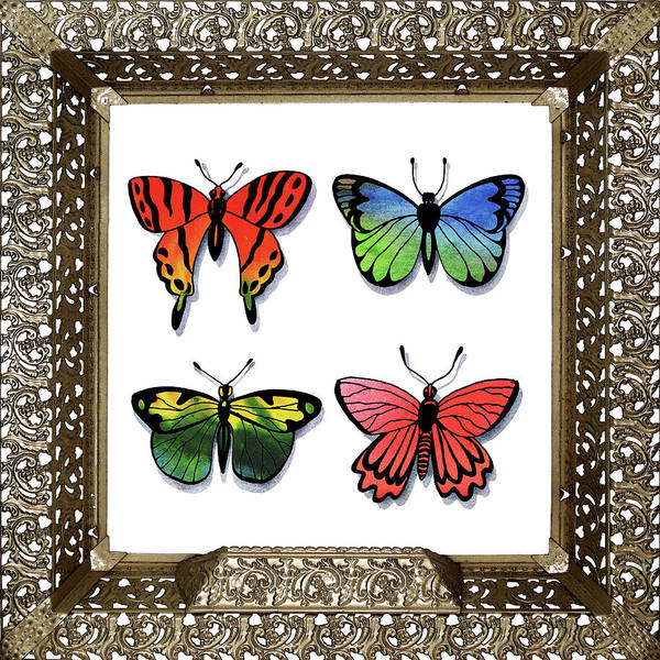 Collectible Painting - Butterfly Collection I Framed by Irina Sztukowski