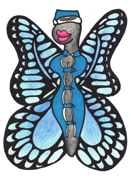 Lady Bug Drawing - Butterfly Flight Attendant by Lady Beaver