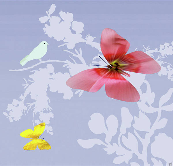 Butterfly On Flower Digital Art - Butterfly Floral 2 by Debra     Vatalaro
