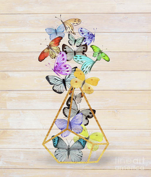Flutterby Wall Art - Painting - Butterfly Gold Wire Terrarium Against Whitewashed Wood by Tina Lavoie