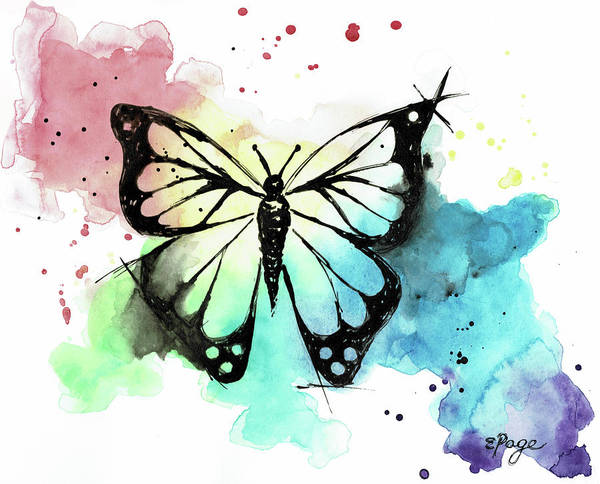 Painting - Butterfly In Watercolor And India Ink by Emily Page