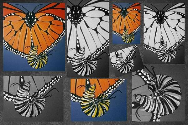 Painting - Monarch Butterfly Caterpillar Collage by Joan Stratton