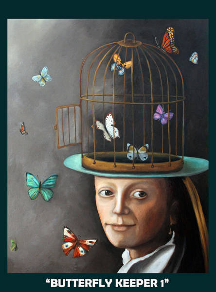 Painting - Butterfly Keeper With Lettering by Leah Saulnier The Painting Maniac