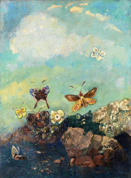Wall Art - Painting - Butterfly by Odilon Redon