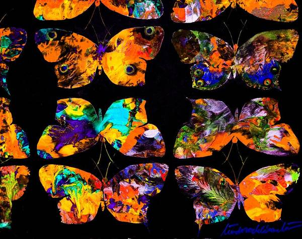 Painting - Butterfly Rows  Series 2 by Teodoro De La Santa